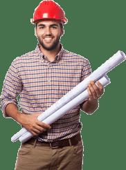 мъж със строителни скици