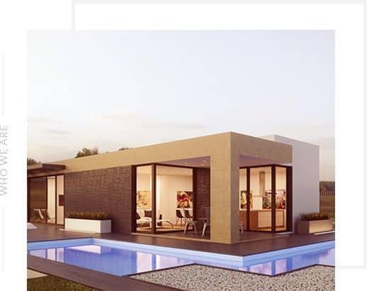 Завършена къща в модерен стил с басейн